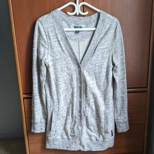 Roots long grey cardigan